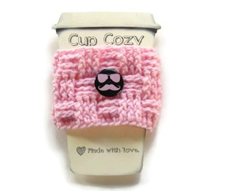 Ready To Ship - Pink Coffee Cup Cozy - Crocheted Basketweave Cup Sleeve - Crocheted Cup Warmer With Button - Mustache Button Cozy