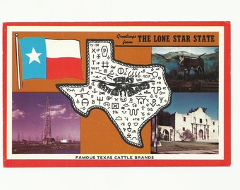 2 Western Postcards, Texas Man Cave, Classroom Decor, Old Tex the Longhorn, Texas Cattle Brands, 1970s Paper Ephemera Craft Projects Supply