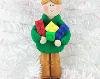 Christmas Gifts for Boys - Building Bricks Christmas Ornament - Christmas Present Adolescent Boy - Handmade Gift for Engineer - 31512