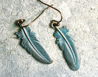 Feather Earrings, Patina earrings, Nature Earrings, Patina Copper Jewelry