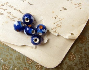 vintage lampwork beads - 5 small dark blue with white and red evil eye - 7mm
