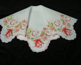 "Vintage 50's 13 1/2"" Pink Rose Bud Floral Wedding Favor, Banner, Pocket Square Handkerchief - 9840"