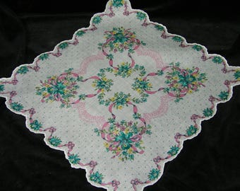 "UNUSED Vintage 50's 13.5"" Scalloped Pink & Teal Blue Mixed Floral Wedding Favor, Banner, Pocket Square Handkerchief - 9843"