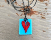 Red Heart Whimsical Love Fused Glass Necklace in Turquoise
