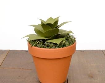 Paper Succulent in Medium Terracotta Pot