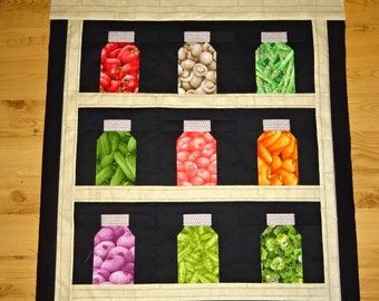 Veggie Jar Quilt Top, Cupboard, Kitchen, Pantry, Wall Hanging, Table Topper,