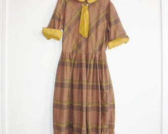 Vintage Girl's Brown and Mustard Dress