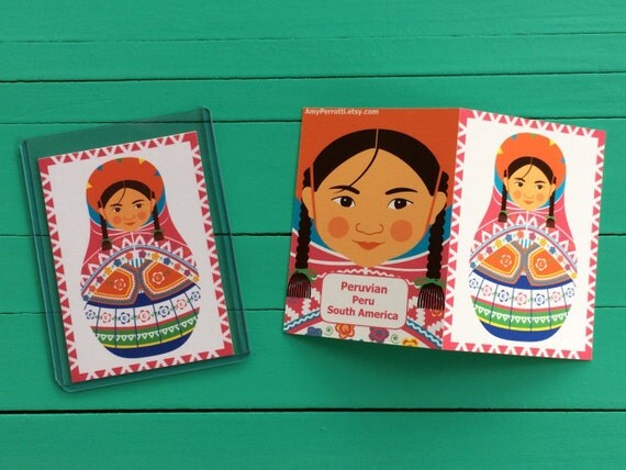 Peruvian Artist Trading Card ATC with culturally traditional dress drawn in a Russian matryoshka nesting doll shape