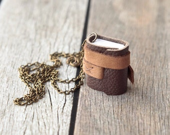 Mini Leather Journal Necklace, Brown and Tan Book Jewelry