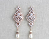 Rose Gold Bridal earrings, Chandelier Wedding earrings, Bridal jewelry, Swarovski Earrings, Long earrings, Pearl earrings, Statement EMMA