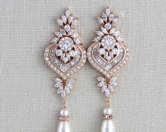 Rose Gold Bridal earrings, Chandelier Wedding earrings, Bridal jewelry, Swarovski Earrings, Long earrings, Pearl earrings, Statement EMMA