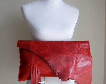 LEATHER Large Oversized Huge Clutch Bag Purse Shoulder Strap Cross Body - Raw, Rustic w/ Raw Edge & Fringe - Beautiful Soft Leather Raw Edge