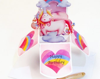 Unicorn Birthday Pop Up Card - Unicorn Birthday Invitation - Kids Birthday Gift Card Holder - Unicorn 1st Birthday