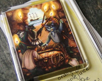 Pirate Cats Art Magnet Treasure Island Feline Fridge Magnet