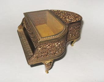 Gold Ormolu Glass Piano Jewelry Casket Music Box Doctor Zhivago