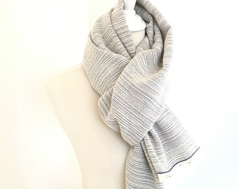 "Cashmere Scarf with Merino 20"" x 80"" Ivory White and Cobalt Blue 20"" x 80"" Handwoven Scarf Unisex"