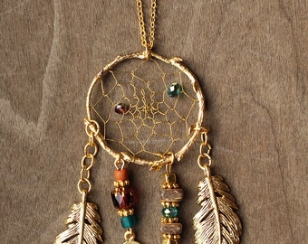 Couture Matte Gold Birds Nest Dreamcatcher Necklace Dream Catcher Approx. 24""