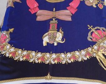 Oscar de La Renta scarf, Les Grands Ordres, vintage, silk scarf, coat of arms, royal insignia, ladies accessory, rare