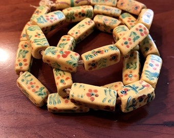 Vintage Matched Rectangle Shaped AfricanTrade Beads with Angled  Ends