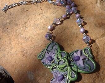 Vintage Fuchsia  Flower Necklace--Art Nouveau
