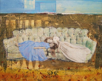 The Couch Series: Repose, Blue, Sky, Yellow, Field, Art Print, Wall Decor