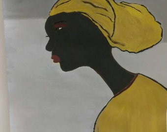 African woman art ,Afrikaans bag,african American art,black woman painting,  black woman painting,black woman art,headwrap yellow