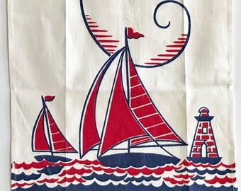 Vintage Nautical Towel Sailboat Seagulls Guest Towel Powder Room Bathroom
