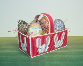 Easter Eggs and Basket, Easter Decorations, Hanging Eggs, Vintage Easter, Needlepoint Bunny Basket, Wire Eggs, Beaded Eggs, Ceramic Egg