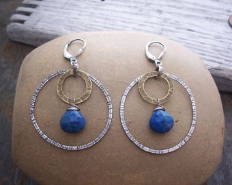 Mixed metal Lapis Lazuli hoop earrings, Sterling silver Lapis drop earrings, Boho Earrings, Denim Blue Lapis Lazuli earrings, Gift for Her,