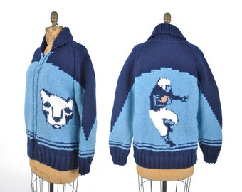 RARE 1960s Penn State football cowichan sweater / PSU Nittany lion zipper cardigan sweater / 60s cowichan