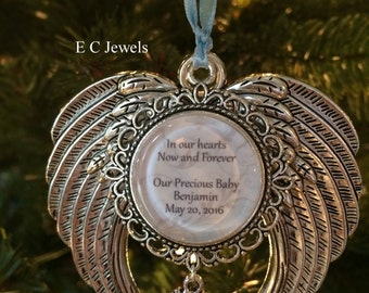 """Memorial Baby / Miscarriage Ornament """"In our hearts Now and Forever, Our Precious Baby"""""""