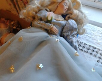 Vintage Porcelain Doll - Sleeping Beauty with Chaise Lounge
