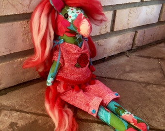 Handmade plush pony. Button jointed arms. Red ombre' mane and tail. Stuffed horse doll with clothes