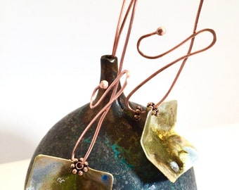Long, bold, sexy copper and nugold artisan Threader earrings, statement earrings