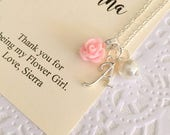Flower girl rose necklace, initial personalized rose jewelry, script initial. Comes with FREE personalized Notecard, Jewelry Box.