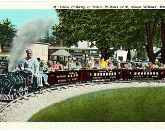 Vintage Massachusetts Postcard - Children riding the Miniature Railway at Salem Willows Park (Unused)