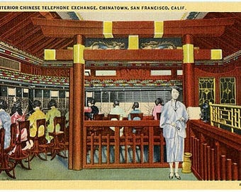 Vintage California Postcard - The Chinese Telephone Exchange in Chinatown, San Francisco (Unused)