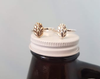 Hug from a hop ~ sterling silver stacking beer hop ring