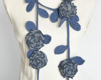 ROSA - Denim - Handmade Denim Rose and Crochet Leaf Lariat