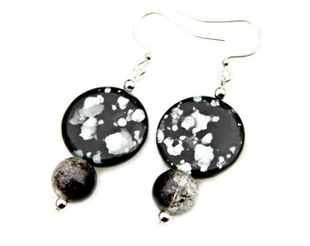 Black Silver Earrings Mother of Pearl Cracked Sparkle Beaded Dangles Elegant Evening Out Style Classic Flare by Mei Faith