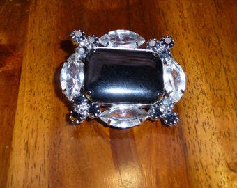 Vintage Black and Clear Rhinestone Pin Juliana Style Elegant Vintage Pin