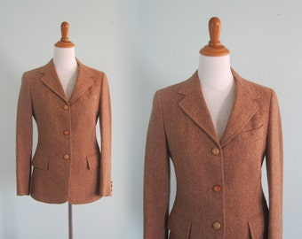 Vintage 70s Jacket - Classic 70s Equestrian Tweed Blazer - Vintage Herringbone Jacket in Golden Brown - Vintage 1970s Jacket S M