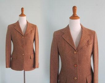 Classic 70s Equestrian Style Tweed Blazer - Vintage Herringbone Jacket in Golden Brown - Vintage 1970s Jacket S M