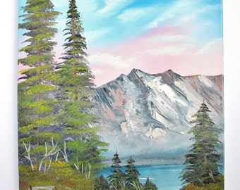 Bob Ross Style Oil Painting Landscape Autumn First Snow Mountains Wilderness Lake Evergreens 16 x 20