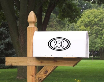 Mailbox Number with Border Vinyl Decal