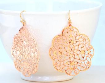 Rose Gold Earrings Rose Gold Lace Filigree Earrings Bridesmaid Gift Boho Wedding Bridal Earrings Gift for Her Gift for Mom Rose Gold Lace