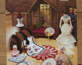 Vintage 1993 crochet pattern Fashion doll Barbie furniture THE ATTIC