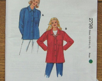 1999 kwik sew pattern 2798 misses shirt jacket sz XS-XL uncut