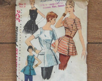 vintage 1955 simplicity pattern 1387 junior misses/misses tunic sz 11 b29 guc short sleevs or sleeveless peplum square neckline button front