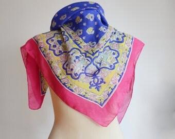 Vintage Fairy Tale Pink Silk Scarf